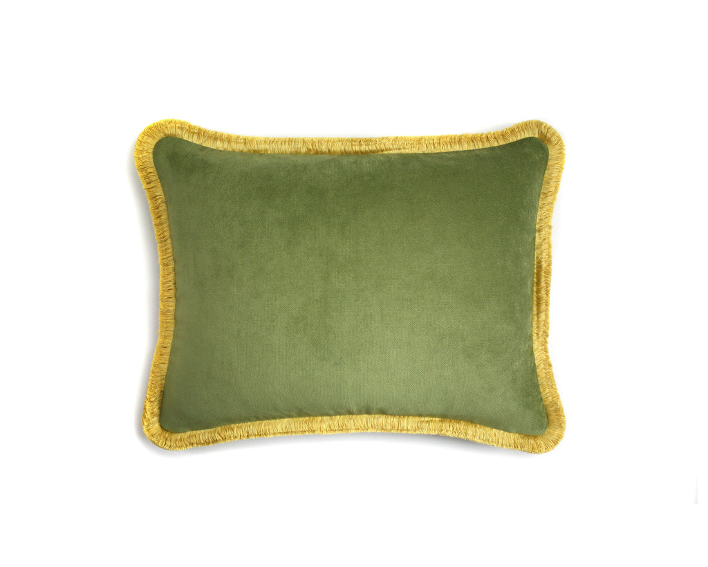 Happy Velvet Cushion Green | LO Decor