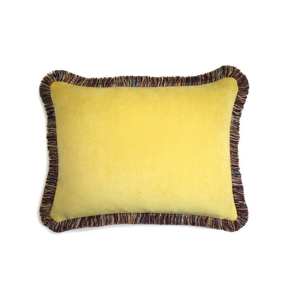 Happy Velvet Pillow Yellow | LO Decor