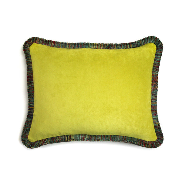 Happy Velvet Cushion Acid Green | LO Decor