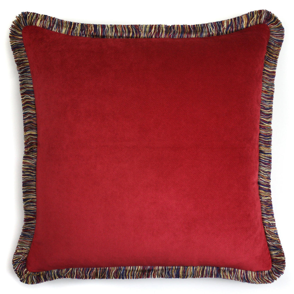 Happy Velvet Cushion - Garnet Red