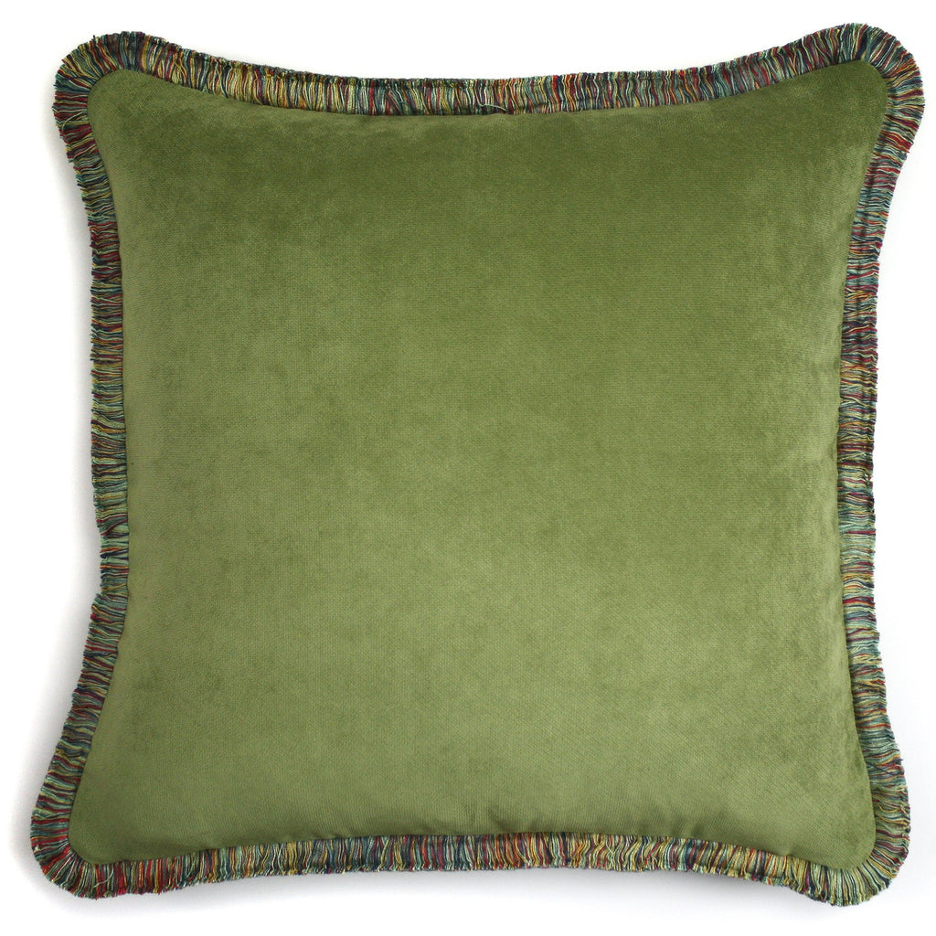 Happy Velvet Pillow Olive Green | LO Decor