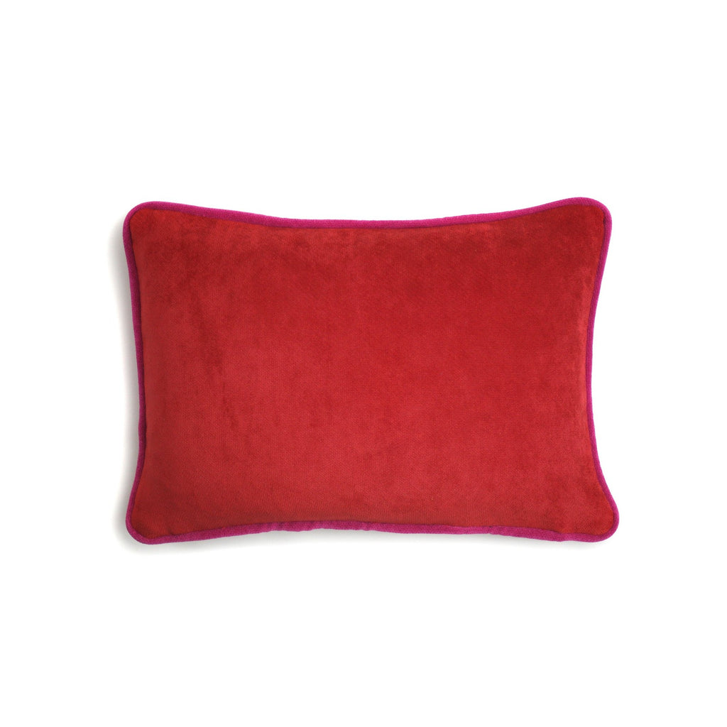 Red & Fuscia Velvet Cushion | LO Decor