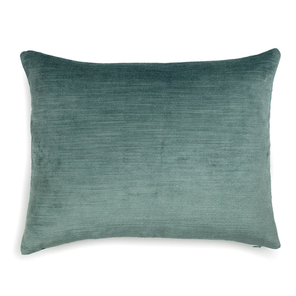 Corduroy Velvet Cushion Blue Green | Lo Decor