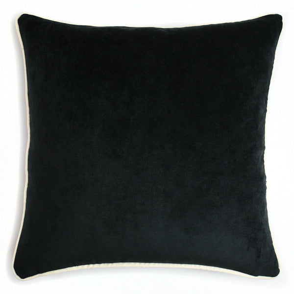 Velvet Cushion - Black & Creme