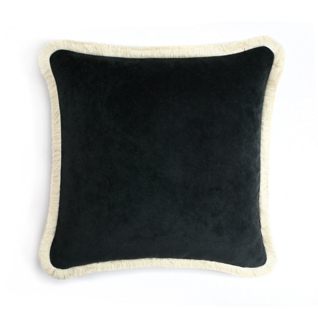 Happy Velvet Pillow Black | LO Decor