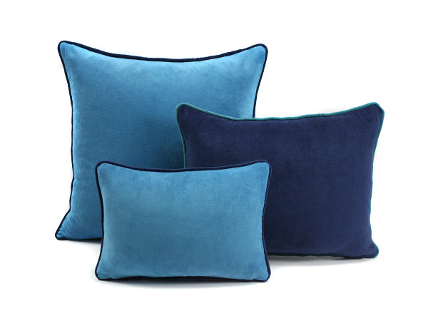 Happy Velvet Cushion BlueSky/Navy | Lo Decor