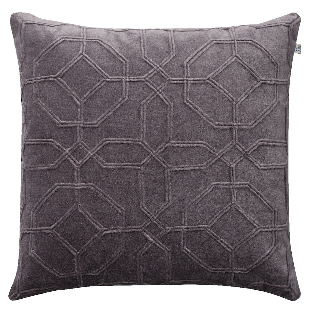 Nandi Velvet Cushion - Grey