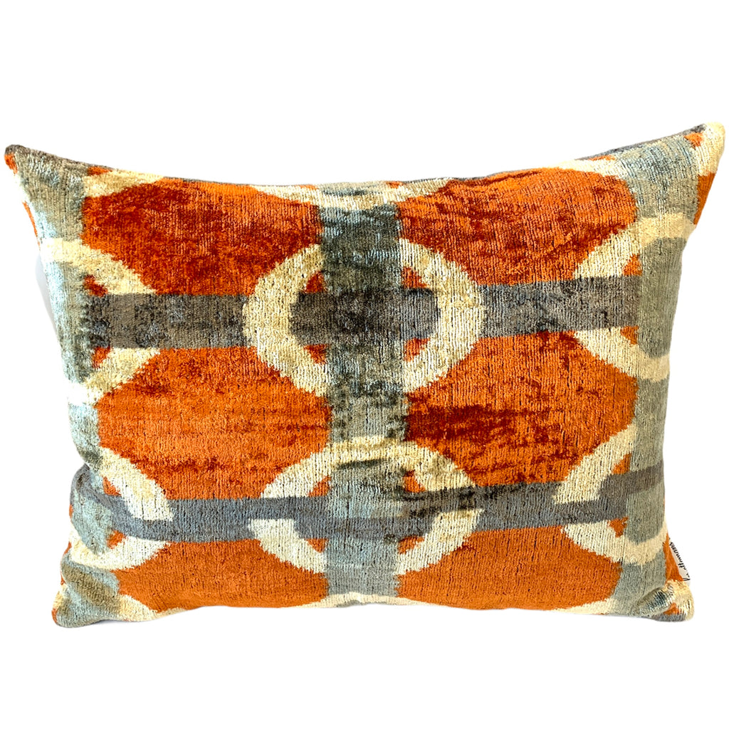 Silk Velvet Cushion N. 381 - Orange/Petrol