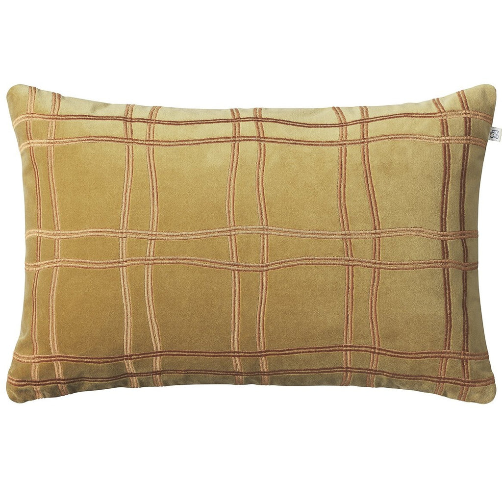 Tattersal velvet cushion yellow