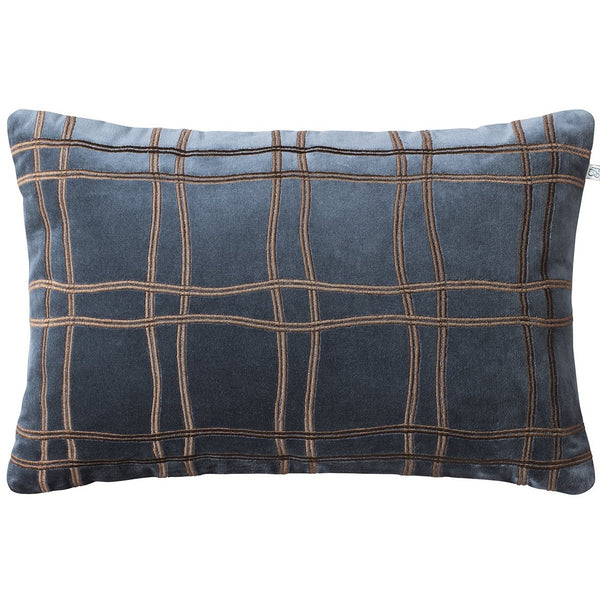 Tattersal Velvet Cushion blue