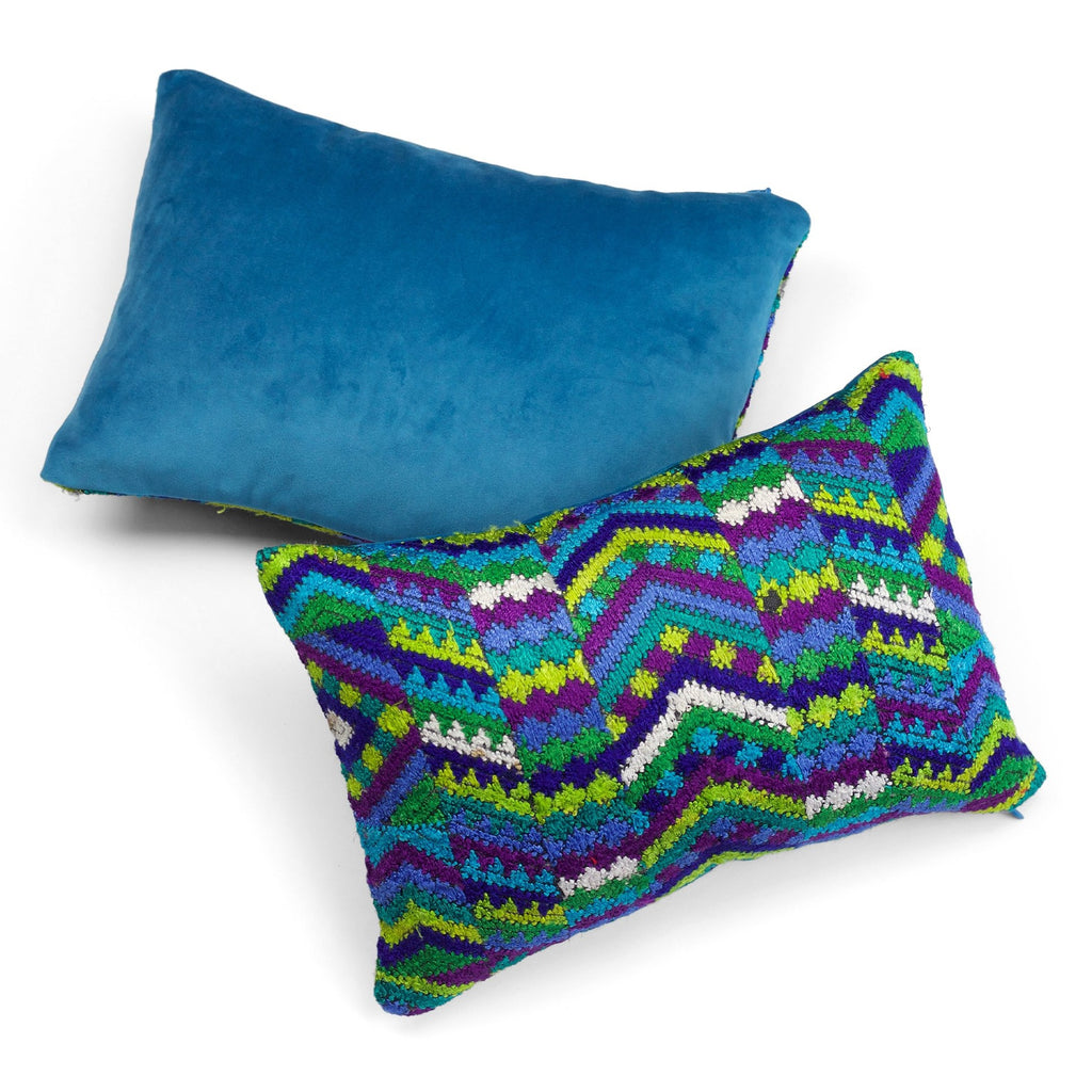 Totonicapan Blue Huipul Pillow by Tone Textiles
