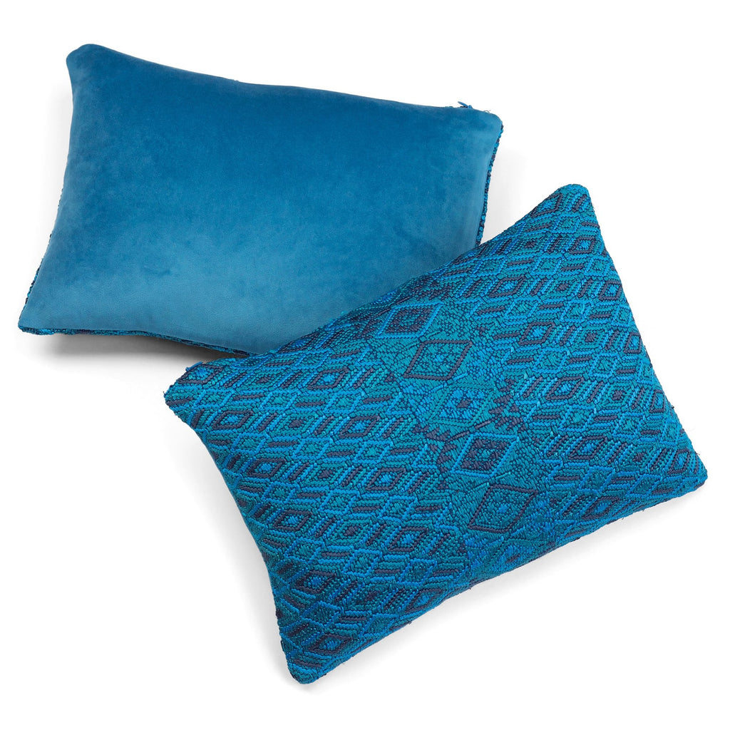 Blue Huipul Cushion 10 x 14 | Tone Textiles