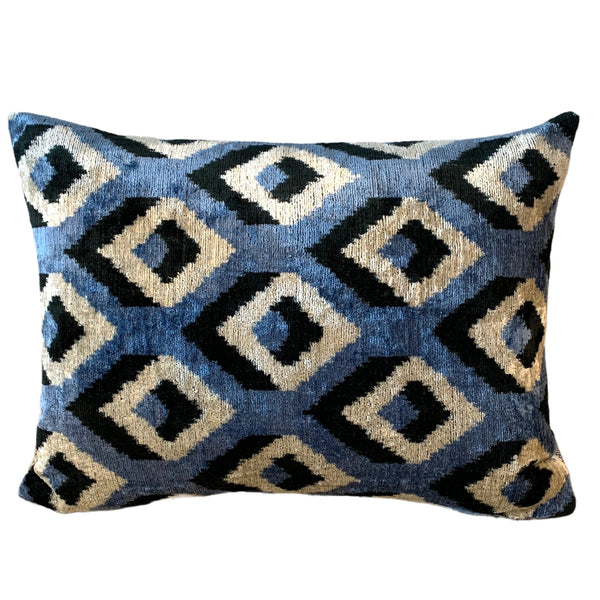 Silk Velvet Cushion N. 454 - Blue/Black