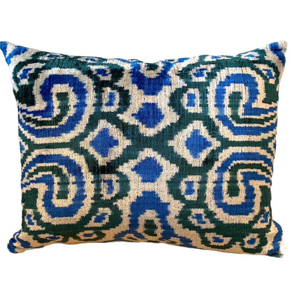 Silk Velvet Cushion N. 465 - Green/Blue