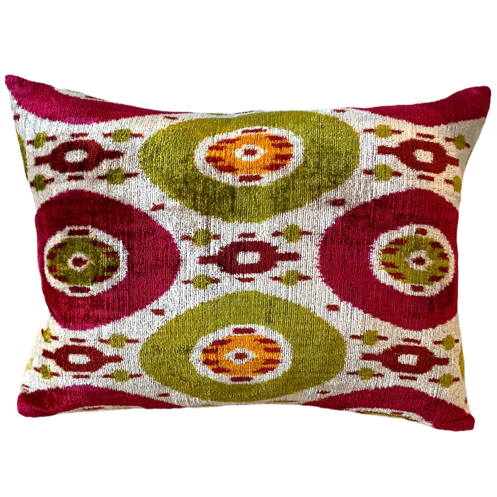 Silk Velvet Cushion N. 525 - Red/Green