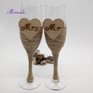 Burlap Champagne Toasting Glasses Set - 2pcs - WineProducts.net