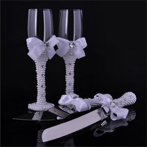 Champagne Toasting Glasses Set - Wedding Wine Glass + Pearl Cake Knife - WineProducts.net