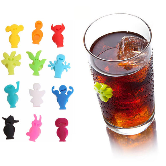 12pcs/set  Silicone Suction Cup Glass Identifiers - WineProducts.net