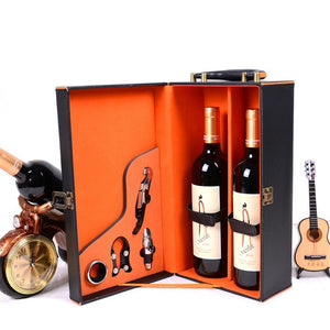 Black Leather Box Wine Set - 4 PCS - WineProducts.net
