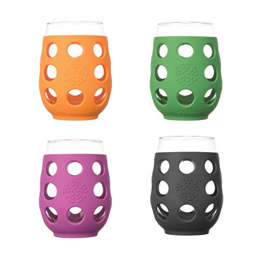 17-Ounce BPA-Free Indoor and Outdoor Wine Glass 4-Pack with Protective Silicone Sleeve, Multi-Color - WineProducts.net