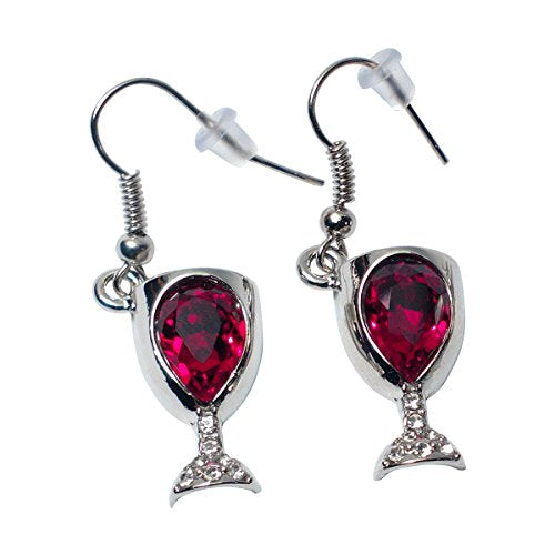 Prefen Alloy Wine Glass Earrings With Wine Tinted Crystal - WineProducts.net