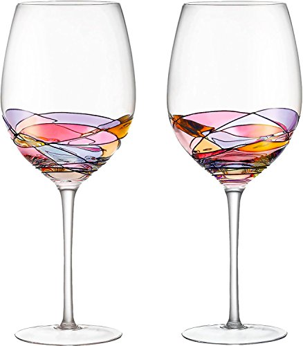 Red Wine Glasses Set of 2 Hand Painted Designed with Strong Presence - WineProducts.net