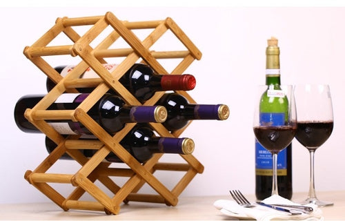 Foldable Bamboo Wine Bottle Holder - WineProducts.net