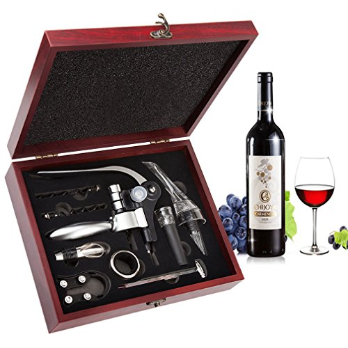 Wine Opener Set - Corkscrew, Foil Cutter, Pourer Kit with Wood Case - WineProducts.net