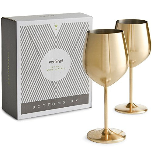 VonShef Gold Wine Glasses, Shatterproof Stainless Steel, Set of 2 - WineProducts.net