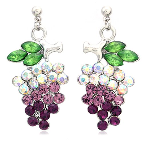 Lavender Purple Grape Stud Post Earrings Green Leaf Violet Fruit - WineProducts.net