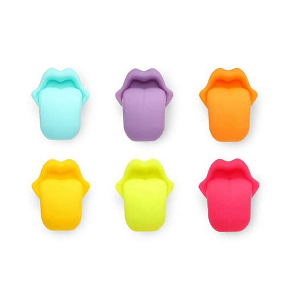 Cool Tongue Party Suction Cup Wine Glass Silicone Label Marker - 6pcs - WineProducts.net