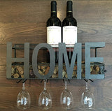 Wall Mounted Metal Wine Rack 4 Long Stem Glass holder & Wine Cork Storage - WineProducts.net