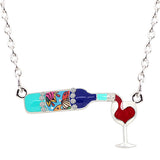 Enamel Floral Red Wine Bottle Necklace - WineProducts.net