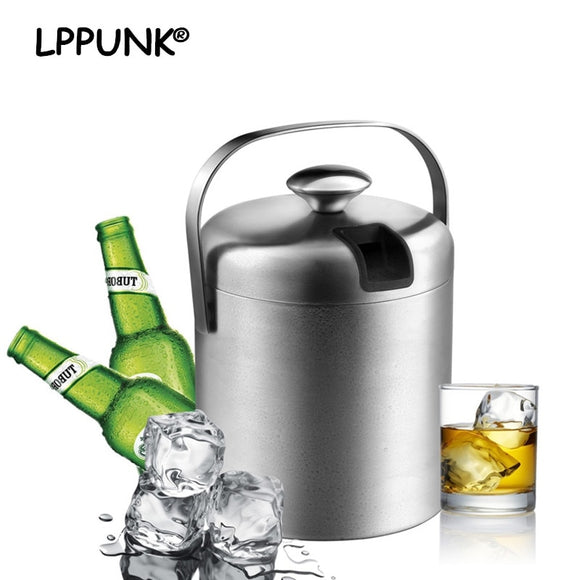 Double Wall Food Grade Stainless Steel Ice Bucket with Ice Tong/Strainer - WineProducts.net
