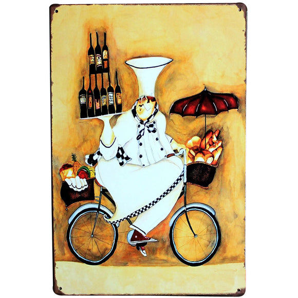 Chef on Bicycle Vintage Metal Tin Sign 20x30cm - WineProducts.net