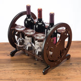 Red Wooden Wine Rack - Three Bottles/3 Glasses Holder - WineProducts.net