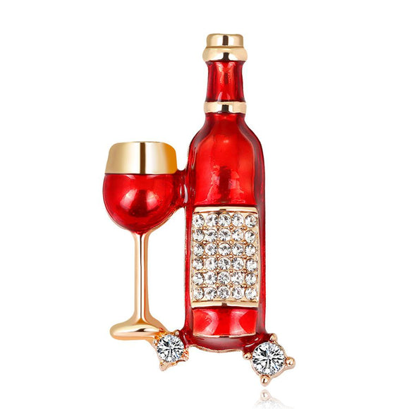 Wine Bottle & Wineglass Metal Broch - WineProducts.net