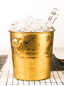 Tiger Head Stainless Steel Ice Bucket in Gold - WineProducts.net