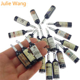 Black Resin Charm Wine Bottles Pendants For Jewelry Necklace Earrings 10PCS - WineProducts.net