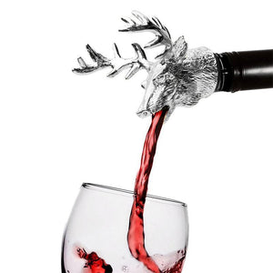 Stainless Steel Deer Stag Head Wine Pourer - WineProducts.net
