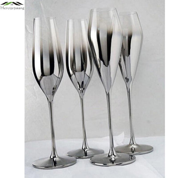 Gloss Silver Finish Metal Champagne Flutes - WineProducts.net