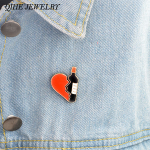 2pcs/set Enamel Wine bottle and heart pins - WineProducts.net