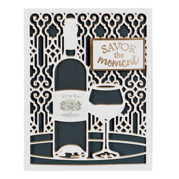 Red Wine Bottle and Wine Glass Stencil Die Cut - WineProducts.net