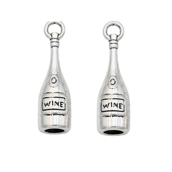 Tibetan Silver Plated Wine Bottle Charm Pendant - WineProducts.net