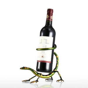 Funny Gecko Wine Rack Bottle Holder Iron Sculpture - WineProducts.net