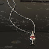 Handmade Stainless Steel Woman's Red Necklace Pendant - WineProducts.net