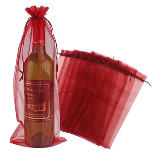 10pcs Sheer Organza Wine Bottle Cover Wrap Gift Bags - WineProducts.net