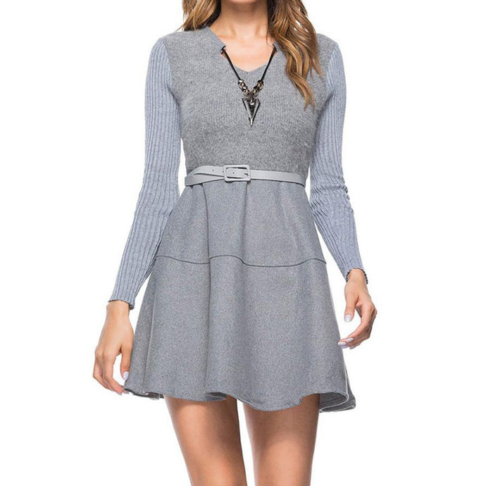 V-Neck  Patchwork  Belt  Plain  Woolen Mini Skater Dress