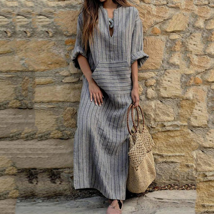 V Neck  Kangaroo Pocket  Striped  Three Quarter Sleeve Maxi Dresses Vintage Dress