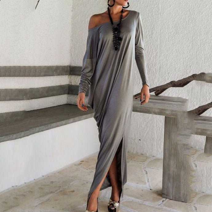 One Shoulder Slit Long Sleeve Maxi Dresses Vintage Dress